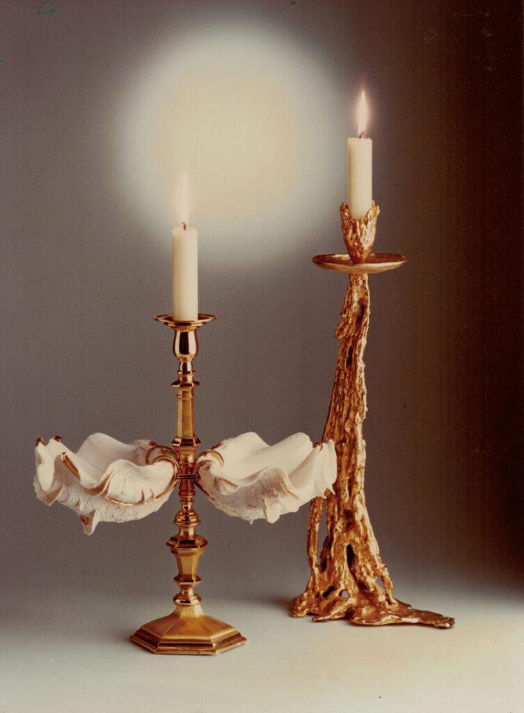 """Candeliere con tridacne, 1973 Candeliere Gocce Oro, 1974  """"Les Décorateurs des années 60-70"""" Norma Editions 2007/2015"""
