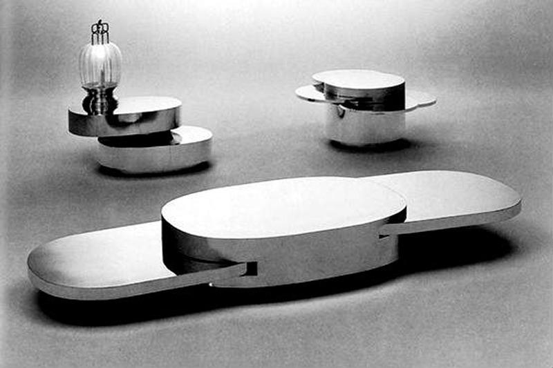 Ellisse, Cubo Tondo, Tavolino Scultura, 1976  Casa Vogue, Novembre 1976 Photo by Gian Sinigaglia